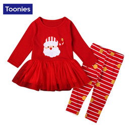 Wholesale Cute Christmas Girl Outfits - Christmas Oufits Santa Claus Cartoon Print Long Sleeve Tutu Dress Tops+Striped Leggings Cute Ruffles Top Pants Red Girls Outfits 2 Pieces