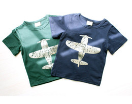 PrettyBaby 2016 summer 2 colors boys T-shirts green&black plane picture printed cotton children T-shirts DHL free shipping