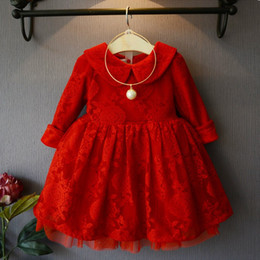 Wholesale Christmas party dress Spring Autumn Girls doll collar Long Sleeve Lace dress kids red princess dress children lace tulle tutu dres A9911