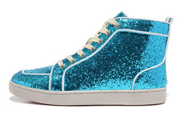 Hot Sale High Top Red Bottom Sneakers Sequin For Mens Luxury Brand Designer France Solid Casual Shoes Blue Pink Purple