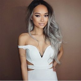 100% Brazilian Human Hair Ombre Lace Wigs #1b Grey Full Lace Wigs Free Part Wavy Style Glueless Lace Front Wigs in Stock
