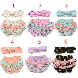 Wholesale 6 Design kids bronzing dot pp pants Hair band suit Free DHL fashion baby toddlers boy girl bowknot dot pants shorts Leggings B001