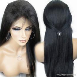 Célébrités de couleur naturelle des cheveux en Ligne-Perruques de dentelle de cheveux humains Perruques de célébrité de vente chaude naturelles de couleur droites perruques de front plein / dentelle pour les femmes noires