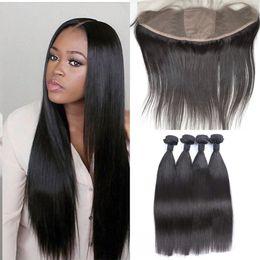 Wholesale 13x4 Silk Base Lace Frontal Closure With Bundles Virgin Brazilian Straight Human Hair Full Frontal Closure With Baby Hair