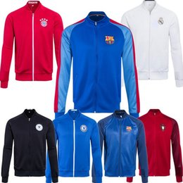 Wholesale 40 style football club long sleeve athletic football jackets men Soccer hoodies Real Madrid Arsenal Chelsea Paris soccer coats thai quality