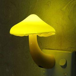 Wholesale 5 Colors Mushroom LED Night Lamp Wall Socket LED Light Sensor Lamp For Baby Bedroom Lampara De Lava Nightlight With EU Adapter
