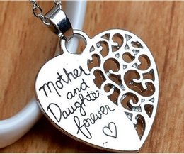 punk Statement Vines Half Hollow Half lettering mother and daughter lovever Peach Heart necklace Mother's Day Gift for mom silver Gold