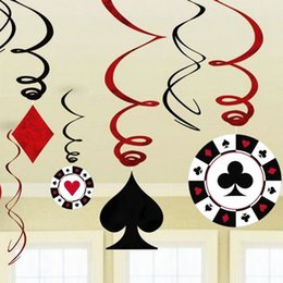 Wholesale Pack of Foil Casino Party Swirl Las Vegas Themed Party Decorations Playing Card Swirls Poker Card Decor