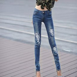 Wholesale 2016 New fall skinny jeans woman Fashion ripped Hole Denim pencil Pants Actress Marilyn Monroe Printing Womens trousers