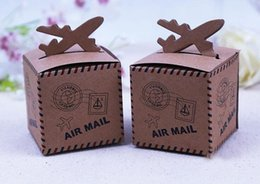 Wholesale 100Pcs Brown Airplane Candy Boxes Wedding Favor Holders Love For You Gift Boxes May Style