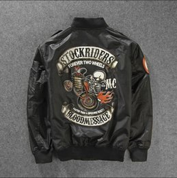 Wholesale Fall Skull Printed Two Wheel Stock Rider Men Vintage Rock Roll Harley Punk Band Ma Flight Jacket Pilot Air Force Bomber Jacket