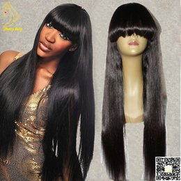 Long Silky Straight Humian Hair Full Lace Wigs With Bangs Mongolian Human Hair Straight Lace Front Wig For Black Women