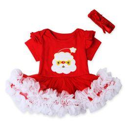 2016 nouvelles robes de filles de noël New Baby Barboteuses Robes de Noël pour les filles du nouveau-né en dentelle rouge coton Combinaisons avec les jeux Bandeau Noël Père Noël Vêtements