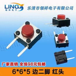 Wholesale MM side two foot pins side by side foot feet touch switch x6 red button switch