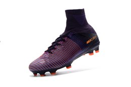 Wholesale Men s Mercurial Superfly V FG Soccer Boots Soccer Shoes Best Quality Athletic Soccer Shoes Purple Red Orange Cheaper Soccer Sneakers