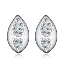 Wholesale High quality Ear stud white rhodium plated sterling silver earrings express FASHION JEWELRY AMERICA for Lady