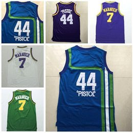 Wholesale Best Men Pistol Pete Maravich Jersey Retro Uniform Rev New Material Pete Maravich Shirt Throwback Sports Team Green Purple Blue