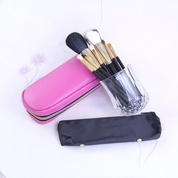 Black Golden Makeup Brushes 12pcs Professional Brush with a Pink Leather Zipper Bag Free Shipping 1pcs