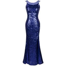Wholesale vestidos de noiva Angel fahions Sexy Round Neck Beading Blinging Sequined Split Evening Dress Blue