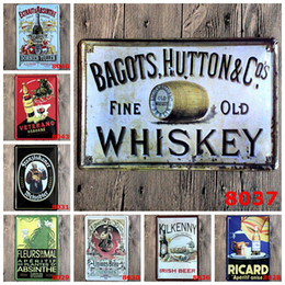 Wholesale WHISKEY VEterano beer retro Coffee Shop Bar Restaurant Wall Art decoration Bar Metal Paintings x30cm tin sign