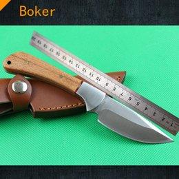 Cuchillos de perlas manejado en Línea-Nuevo cuchillo de caza 440C 58HRC del boker Cuchillo de acampada de la supervivencia de la lámina de la perla de madera natural de la perla con la envoltura de cuero