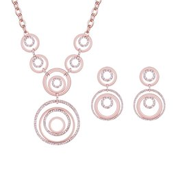 Classical Vintage circle rhinestone suit necklace and earring suit the clothing jewelry suit gift for women