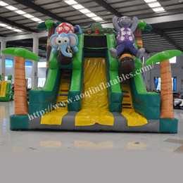 AOQI commercial use cheap price outside inflatable kids toy slide Safari inflatable high slide for sports fun