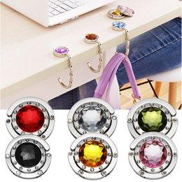 Wholesale Girls Colorful Diamond Portable Folding Hang Bag Hook Decor Handbag Table Hook Purse Desk Bag Hanger