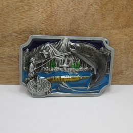 BuckleHome Fishing belt buckle animal belt buckle with pewter finish FP-02577 free shipping