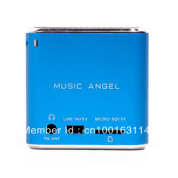 Wholesale Original music angel Protable mini pocket speaker W FM radio Mp3 player Music angel MD08 blue Cheap speakers with built in amp