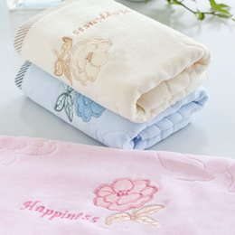 Wholesale Solid Cotton Body Cloth Towels Embroidery Rose Flower Print Face Towel Quick Absorbent Adult Kid Bathing Washcloth x76cm