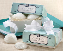 Wholesale 200pcs boxes Beach Themed Bridal Shower Favors quot Ocean Breeze quot Scented Seashell Shaped Small Gift Soap