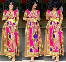 2017 African Women Split Maxi Dresses Traditional African Tribal Print Dashiki Dresses African Tranditional Ethnic Clothing for ladies