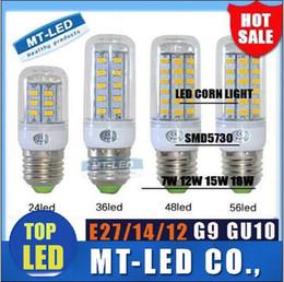 Wholesale IN stock SMD E27 E14 G9 GU10 LED lamp W W W W W V V angle Ultra Bright LED Corn Bulb light Chandelier lamps