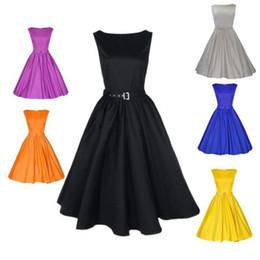 Wholesale Sexy Retro Dress Summer Audrey Hepburn Style Women Vintage s s Rockabilly Yellow Short Party Dress Vestidos Plus Size FS0641
