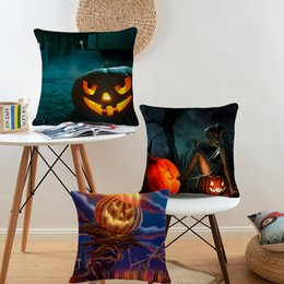 Halloween festival Cartoon creative Pumpkin printed pillow Modern Home Sofa cushion linen case cover Car comfortable cushion cover 45*45cm