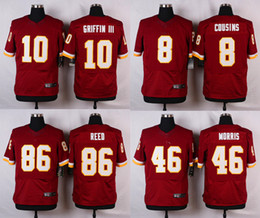 Wholesale Elite jerseys Kirk Cousins Robert Griffin III Alfred Morris Jordan Reed Red White Elite Mens jerseys Free Drop Shipping Mix Order