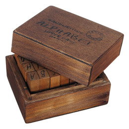 Wholesale New Arrival Capital Letter Alphabet Stamp Box Hand Writing Stamp Antique Wooden Rubber Stamp Box