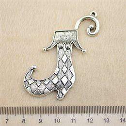 4Pcs 70mm antique Silver ToneClown Shoes Charms Zinc Alloy DIY Handmade Jewelry Pendants Wholesale
