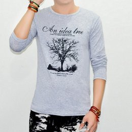Wholesale-t-shirts 2016 latest men's fashion cool Long-sleeve T-shirt printing trees Tee-shirt