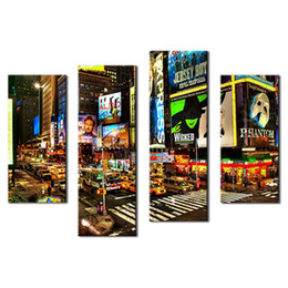 4 Piece Wall Art Painting City Night Broadway Street Pictures Prints On Canvas City Picture For Home Modern Decoration with Wooden Framed