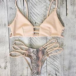 Printed striped female models in Europe and America sexy bandage bikini swimsuit split serpentine Bikini S-XL