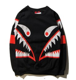 Wholesale New autumn and winter in Europe and America tide brand ape shark tooth hoodies WGM printing men and women casual round neck cashmere sweater