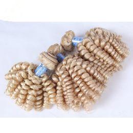 9A Virgin Russian #613 Platinum Blonde Aunty Funmi Hair Weave Bundles 3Pcs Lot Russian Blonde Romance Curls Funmi Human Hair Extensions