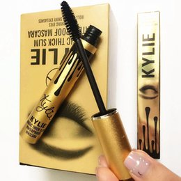 Wholesale 2016 Kylie Eyes Mascara AAA Top Makeup Golden Aluminum Single Waterproof Anti Sweat Slim Dense Black Mascara Beautiful Eye Health Beauty
