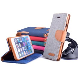 Wholesale Mercury Leather flip jeans case Kickstand card pocket wallet flip case cover skin for apple iphone Samsung All around protection
