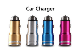 Wholesale 3 A dual USB car charger Round Aluminum Metal Safety Hammer Charger Adapter For Phone Ipad