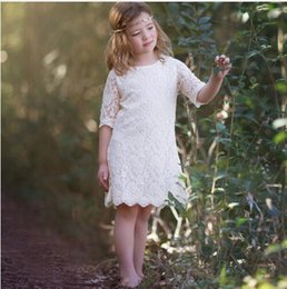 Wholesale 2016 Beach Boho Rustic Ivory Lace Flower Girl Dress A Line Knee Length with Half Sleeve first communion dresses for girls