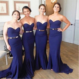 2017 Navy Blue Plus Size Bridesmaids Dresses Cheap Sweetheart Mermaid Arabic Long Wedding Party Dresses with Gold Belt