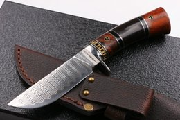 2016 New High End Damascus steel fixed blade hunting knife 60HRC Matte finish blade outdoor survival straight knife gift knives